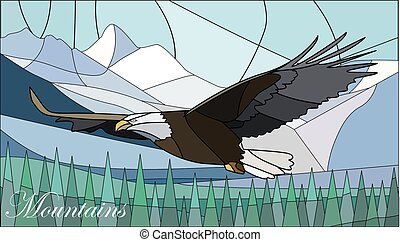 Illustration in stained-glass style with mountains and eagle