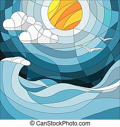 Illustration in stained glass style with sea landscape, sea, cloud, sky and sun.