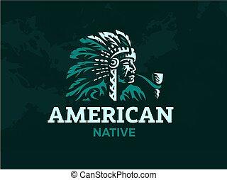 illustration., indian., vector, norteamericano