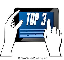 illustration., indicare, testo, cima, mano, 3, tablet.