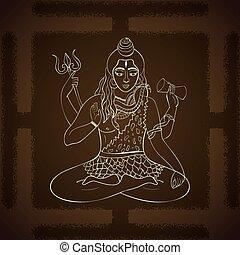 illustration., indio, vector, dioses, dios, sentado, hindú, señor, shiva., shiva, meditation., supremo