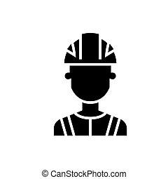 illustration, industrie, isolé, signe, vecteur, arrière-plan noir, icône, ingénieur
