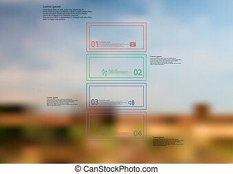 Illustration infographic template with bar divided to four ...