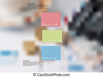 Illustration infographic template with bar divided to three ...
