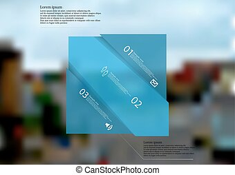 Illustration infographic template with blue rectangle askew divided to three parts