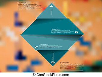 Illustration infographic template with blue rhombus divided to four parts