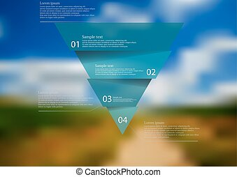 Illustration infographic template with blue triangle divided to four parts