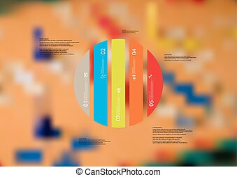 Illustration infographic template with circle vertically divided to five color standalone parts