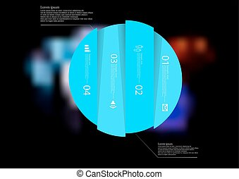 Illustration infographic template with circle vertically divided to four blue parts
