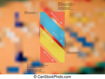 Illustration infographic template with color bar askew divided to four standalone parts