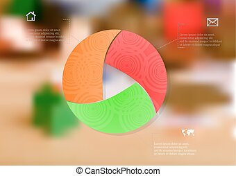 Illustration infographic template with color circle divided to three parts