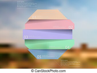 Illustration infographic template with color octagon divided to five parts
