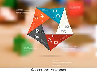 Illustration infographic template with color origami pentagon from five sections