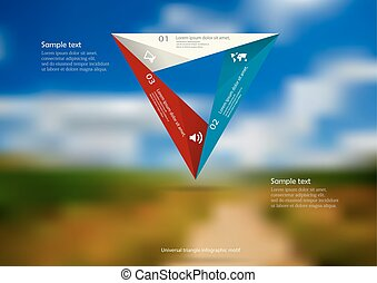 Illustration infographic template with color origami triangle consists of three folded parts