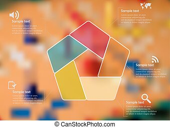 Illustration infographic template with color pentagon divided to five parts