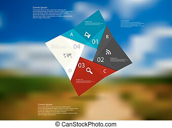 Illustration infographic template with color square origami consists of four parts