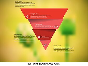 Illustration infographic template with red triangle divided to four parts