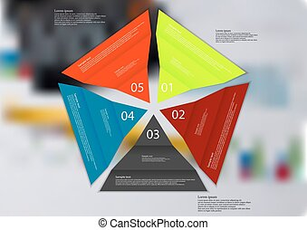 Illustration infographic template with five color folded paper triangles