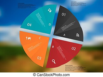 Illustration infographic template with four paper sheets on photo background