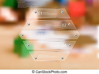 Illustration infographic template with glass hexagon divided to five sections