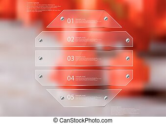 Illustration infographic template with glass octagon divided to five sections
