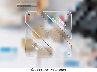 Illustration infographic template with glass rectangle divided to three sections