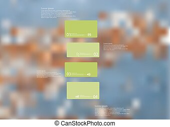 Illustration infographic template with green bar divided to four standalone parts