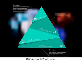 Illustration infographic template with green triangle randomly divided to four parts
