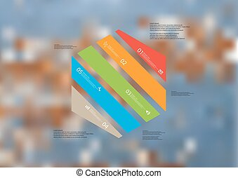 Illustration infographic template with hexagon askew divided to five color parts