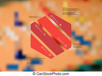 Illustration infographic template with hexagon askew divided to four red parts