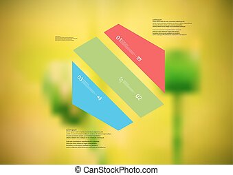 Illustration infographic template with hexagon askew divided...