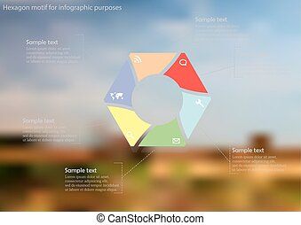 Illustration infographic template with hexagon divided to six parts