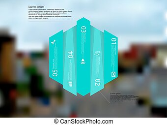 Illustration infographic template with hexagon vertically divided to five blue parts