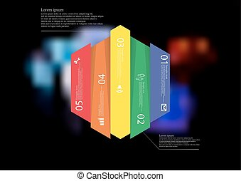 Illustration infographic template with hexagon vertically divided to five color parts