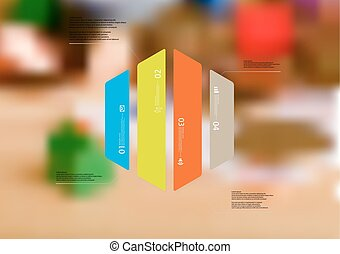 Illustration infographic template with hexagon vertically divided to four color parts