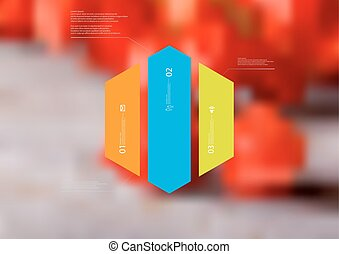 Illustration infographic template with hexagon vertically divided to three color parts
