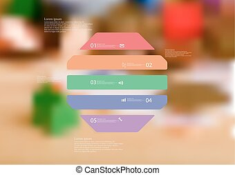 Illustration infographic template with octagon horizontally divided to five color parts