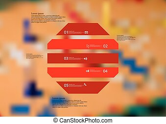 Illustration infographic template with octagon horizontally divided to five red parts