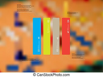 Illustration infographic template with rectangle vertically divided to four standalone color parts