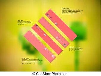 Illustration infographic template with rhombus askew divided...