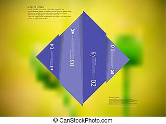 Illustration infographic template with rhombus vertcally divided to four shifted purple parts