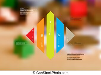 Illustration infographic template with rhombus vertically ...