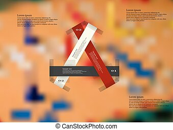 Illustration infographic template with three color ribbons which creates triangle