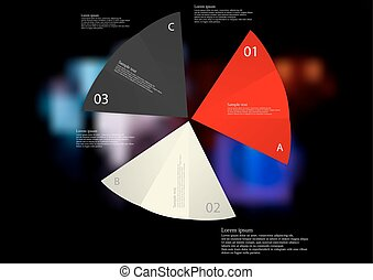 Illustration infographic template with three folded paper sheets with various colors