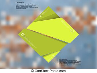Illustration infographic template with green rhombus randomly divided to four parts