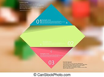 Illustration infographic template with color rhombus divided to three parts