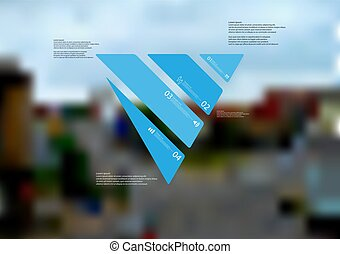 Illustration infographic template with triangle askew divided to four standalone blue parts