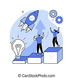 illustration., inicio, vector, concepto abstracto, acelerador