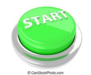 illustration., inizio, isolato, button., fondo., verde, spinta, 3d