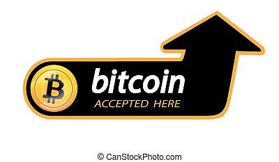 illustration, inscription, ou, bitcoins, toile, autocollant, bitcoin, ici, organisations, monnaie, slabbarking, noir, arrière-plan., printing., logo, accepté, .vector, pages, bloc, crypto